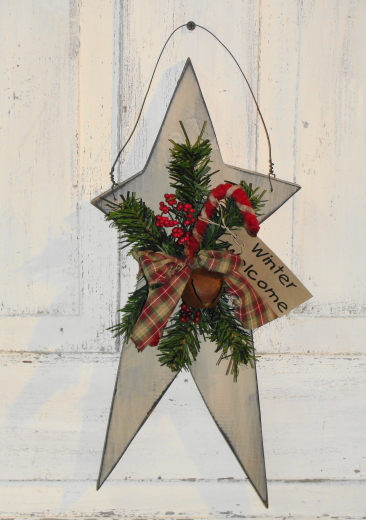 Hanging Winter/Christmas Wood Star