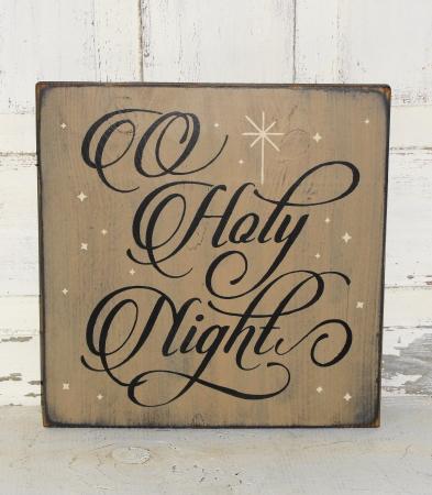 O' Holy Night Primitive Wood Sign