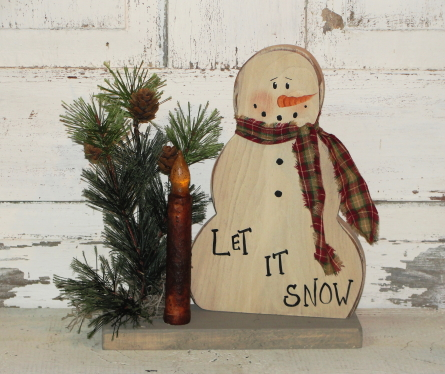 Snowman With Pine and Grungy Taper light/Let it Snow/Frosty Sayings