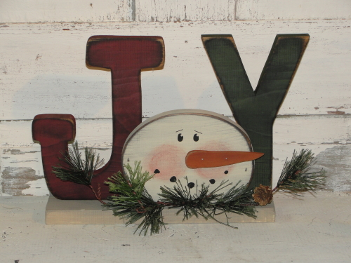 Joy With Snowman Face and Pine Accents/Barn Red-Ivory-Green