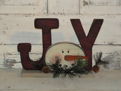 Joy With Snowman Face with Pine Accents In Barn Red-Ivory