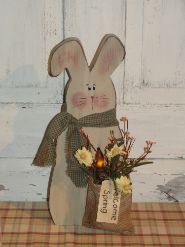 Bunny With Burlap sack and grungy light