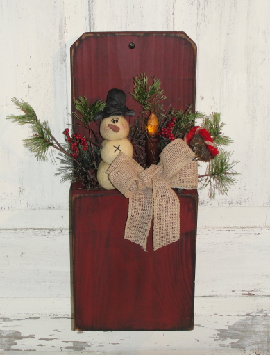 Winter Wall Box With Snowman-Candy Cane-Pine
