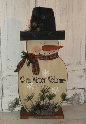 Warm Winter Wishes Snowman with Snowflakes