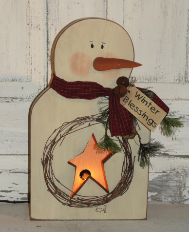 Box Snowman with Star Cutout With Electric Clip Light