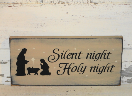 Silent Night-Holy Night With Nativity Primitive Wood Sign