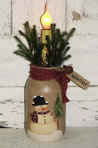 Winter Snowman Jar with Pine Tree and Electric Light