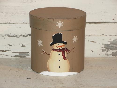 Round Snowman Box With Snowflakes