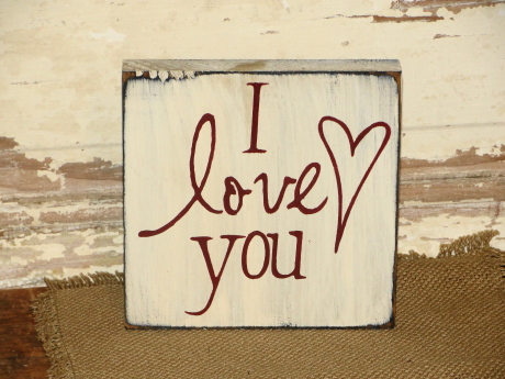I Love You with Heart Block Shelf Sitter
