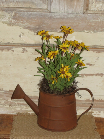 Rusty Watering Can with Yellow Flower and Primitive Filler