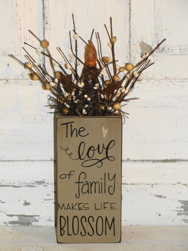 The Love of Family Makes Life Blossom Wood Box Light