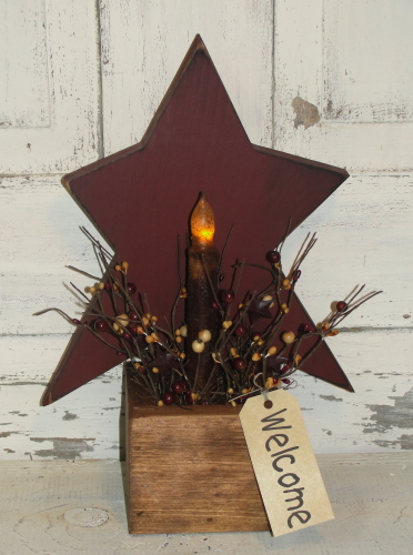 Primitive Wood Star Light Box - Light choices available