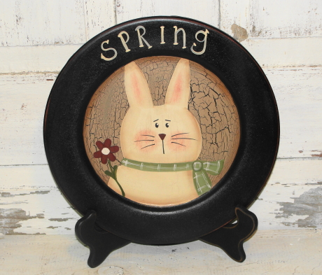 Spring Bunny Plate With Scarf and Flower