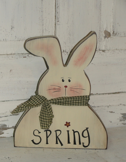 Spring Wood Bunny-Ivory