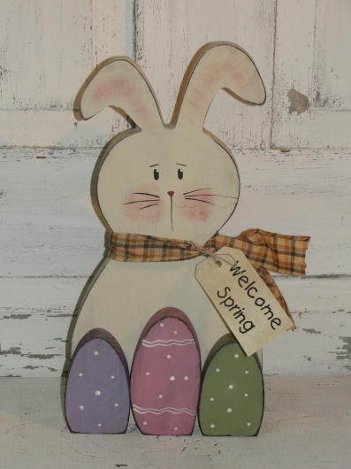 Primitive Bunny With Three Wood Easter Eggs