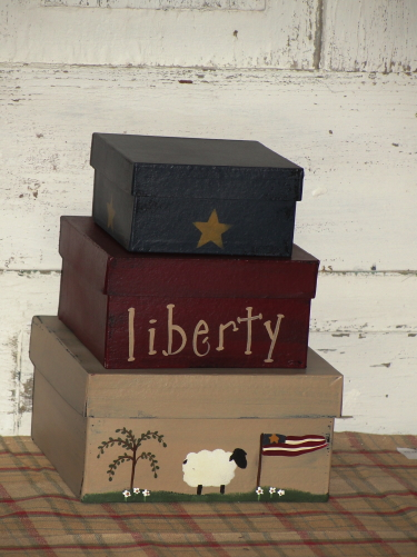 Primitive Americana Sheep Flag Willow Tree Liberty Stacking Boxes