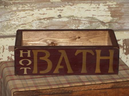 Hot Bath Primitive Wood Box