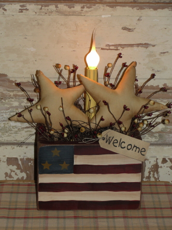 Primitive Americana Flag Box With Light