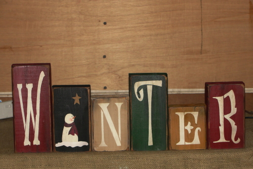 Frosty Winter Word Blocks ....Barn Red / Black