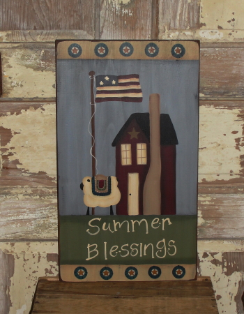 Primitive Americana Summer Blessings Penny Circle Saltbox and Sheep Sign
