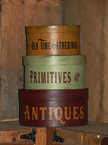 Olde Time Gatherings Primitives and Antiques Handpainted Round Stacking Boxes