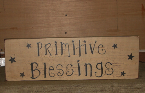 Primitive Blessings with Stars Crackled Sign
