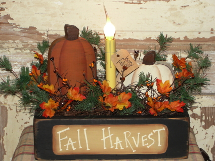 Primitive Fall Harvest Pumpkin Box Light Arrangement