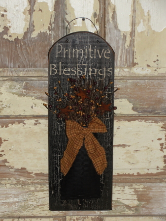 Stenciled Oval Primitive Blessings Plaque