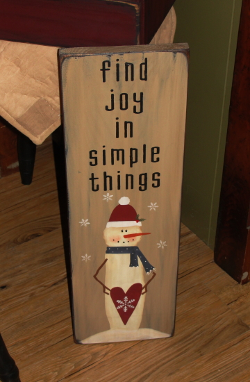 Find the Joy in Simple Things Primitive Snowman Wood Sign