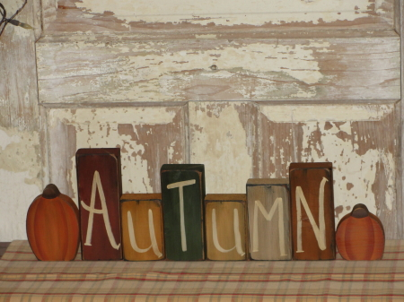 Autumn Block Set With Pumpkins