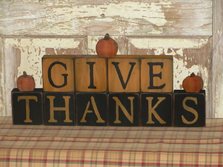 Give Thanks Wood Block Set With Pumpkins