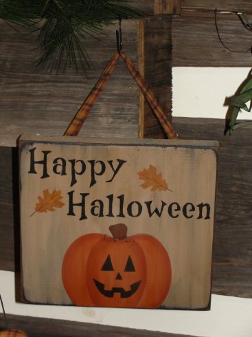 Happy Halloween Primitive Wood Sign