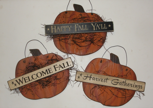 Primitive Fall Pumpkin with Carved Signs