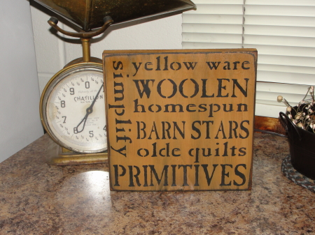 Yellow Ware Primitive Typography Wood Sign