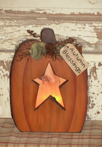 Primitive Fall Pumpkin Box with Star Cutout Light and  Leaves