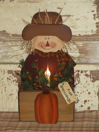 Fall Scarecrow Box With Light Primitive Berries and Pumpkin