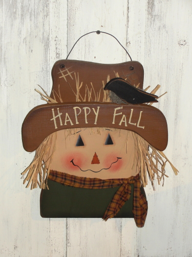Primitive Fall Wood Scarecrow Face with Crow and Homepsun