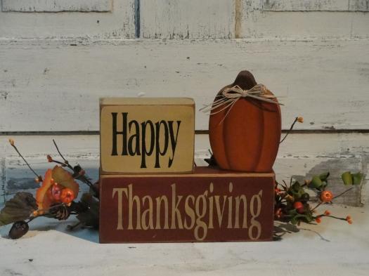 Happy Thanksgiving Primitive Wood Pumpkin Block set