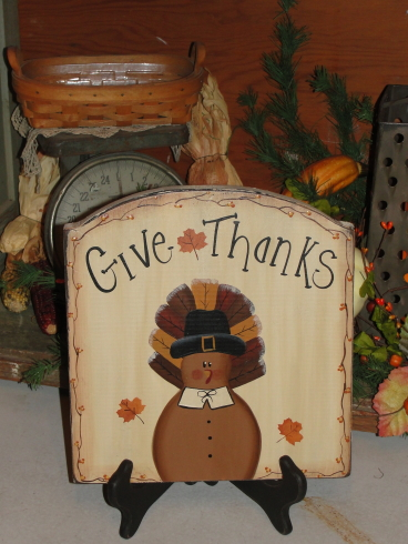 Primitive Wood Give Thanks Thanksgiving Plaque