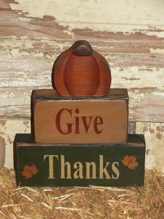 Give Thanks Primitive Wood Stacking Blocks