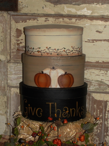 Give Thanks with Pumpkins and Bittersweet vine Handpainted Stacking Boxes -Set/3