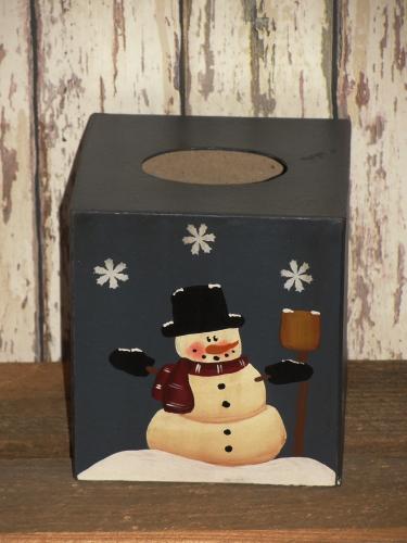 Snowman With Broom Tissue Holder/Blue Background
