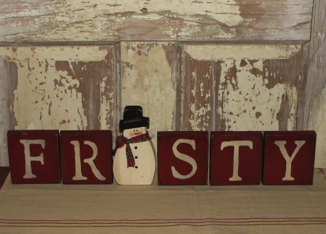 Primitive Frosty Blocks with Snowman