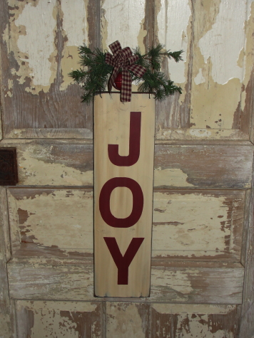 Primitive Joy Sign with Pine Accents Wood Sign