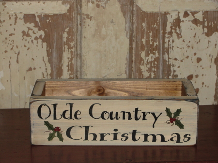 Olde Country Christmas Primitive Wood Box