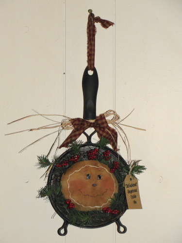 Primitive Gingerbread Kitchen Strainer Arrangement