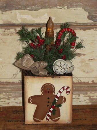 Gingerbread Arrangement with Pine-Candy Cane-Bells-and Lighting Options