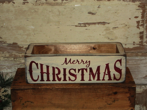 Merry Christmas Primitive Wood Box