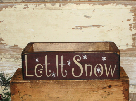 Let It Snow Primitive Wood Box