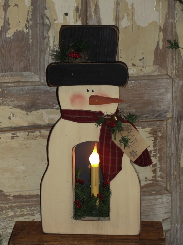 Snowman With Electric Light - Snowflakes and Pine Inside box